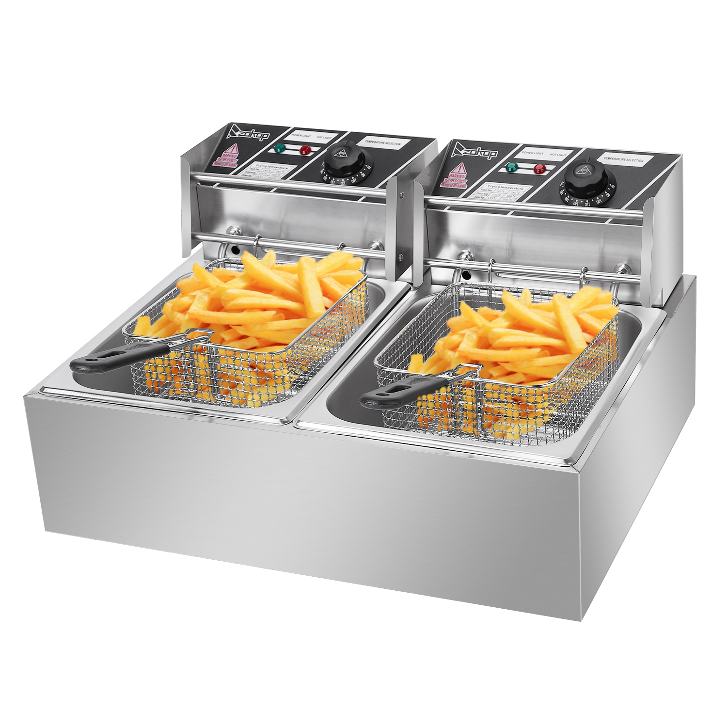 Stainless Steel Commercial Electric Deep Fryers Twin Fat